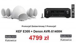 Denon AVR-X1400H + KEF E-305 Zestaw promocyjny
